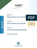 Guía de actividades modulo 17 sesión 2 derecho UnADM