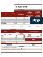 Fee Structure Fall 2019