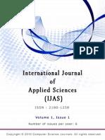 International Journal of Applied Sciences (IJAS) Volume 1  Issue 1