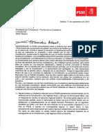 Carta del PSOE a Albert Rivera