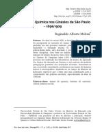 ARTIGO - O Ensino de Química Nos Ginásios de São Paulo