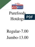 Purefoods Hotdogs