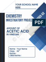 Class 12th Chemistry Investigatory Project on Determination of Acetic Acid in Vinegar