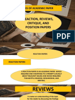 EAPP LP4 Reaction Reviews Critique Position Papers