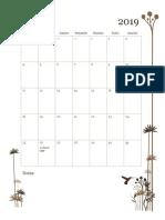 monthly calendar - fall 2019
