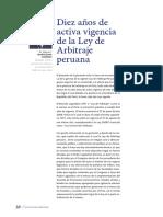 Diez Años de Activa Vigencia de La Ley de Arbitraje Peruana. Revista Arbitraje-30-37