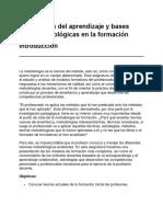 Teorias de Aprendizaje y Bases Metodologicas en La Formacion