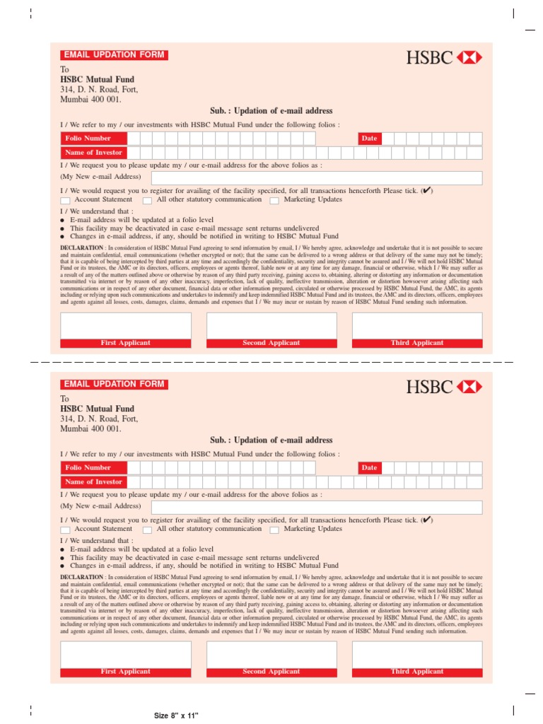HSBC Email Update Form | Email Address | Mutual Funds