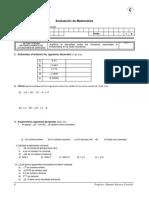 Evaluación de Matemática Nº1 3ro Sec - NUMEROS REALES