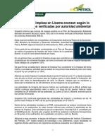 Comunicado de Ecopetrol sobre limpieza de la Lisama