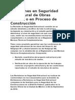 Revisiones en Seguridad Estructural de Obras Nuevas o en Proceso de Construcción