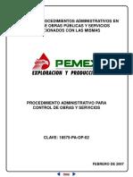 Procedimiento administrativo para el control de obras y servicios