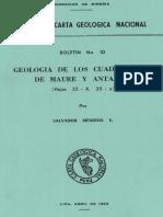 Geología - Cuadrangulo de Maure (35x) y Antajave (35y),1965