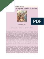 La Oración y La Sagrada Familia de Nazaret, Benedicto Xvi