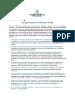 Dez Princípios Da Ciência Cidadã