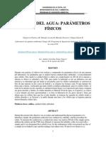 Informe No 2. Química Del Agua Parámetros Organolépticos