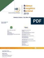Relatório Síntese BEN 2019 Ano Base 2018