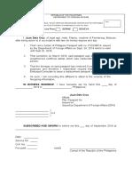 Affidavit of Destruction Passport