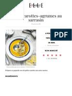 Soupe Carottes-Agrumes Au Sarrasin