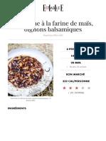 Tarte Fine Farine de Maïs Oignons Balsamiques