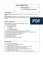 EFDT Learning Plan- Quadratic Equation