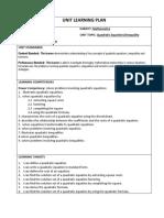 EFDT Learning Plan- Quadratic Equation