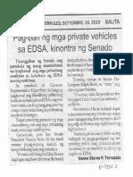 Balita, Sept. 18, 2019, Pag-ban ng mga private vehicles sa EDSA, kinontra ng Senado.pdf