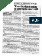 Hataw, Sept. 18, 2019, Constitutional crisis sa warrantless arrest.pdf