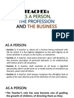 Teacher as a Person Profession and the Business