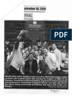 Peoples Journal, Sept. 18, 2019, House solons led by Majority Leader Leyte Rep. Martin Romualdez celebrate with a grofie photo after passing the budgets of Office of the President,DND,DENR,DAR, etc..pdf