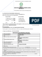 Application for the Grant of Learener's Licence