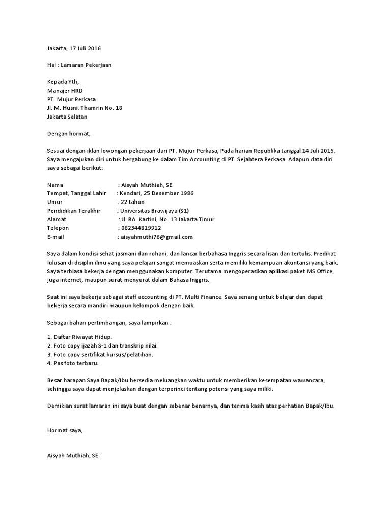 Contoh Surat Lamaran Docx