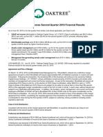 Oaktree Announces Second Quarter 2019 Financial Results