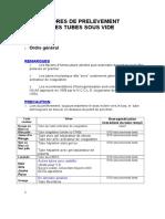 Ordres de Prelevement Des Tubes Sous Vide