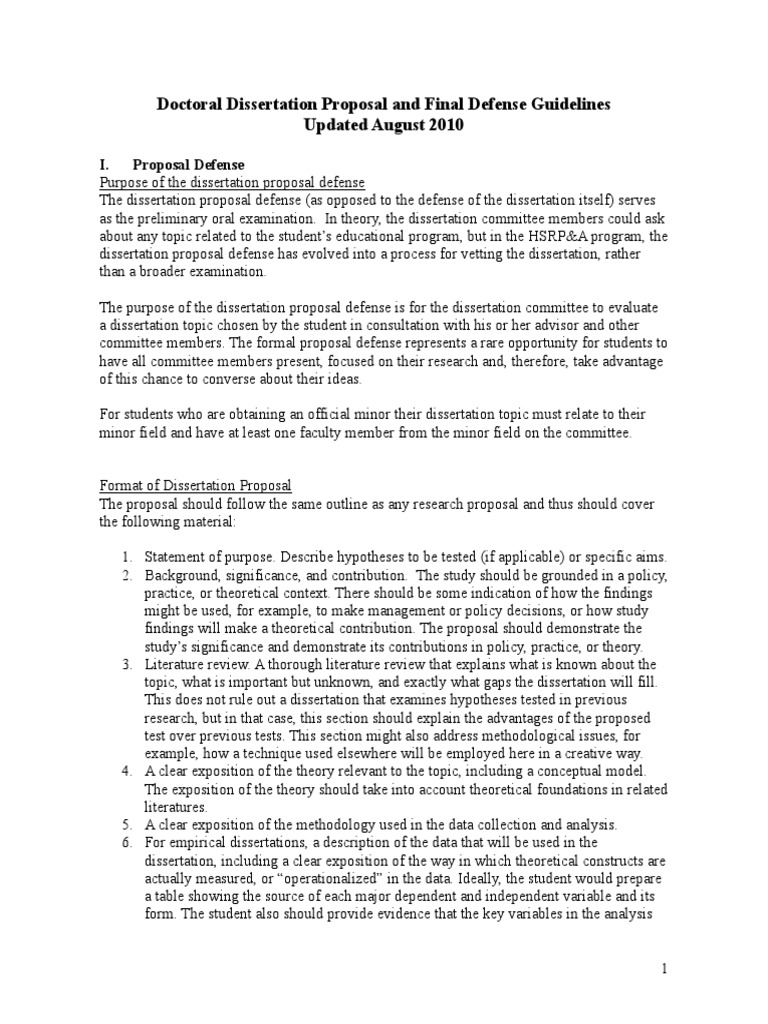 thesis proposal defense guidelines