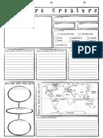 feature creature worksheet