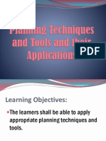Planning Techniques and Tools and Their Application.