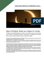 inndicaciones para la proteccion ocular durante un eclipse solar