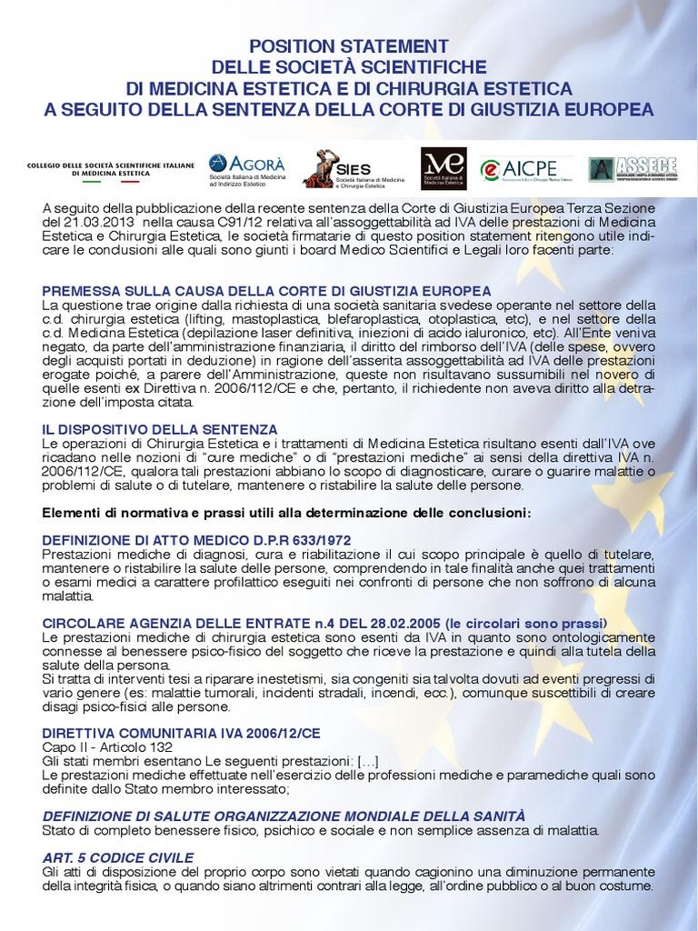 Position Statement Delle Societa Scientifiche Di Medicina Estetica E Di Chirurgia Estetica A Seguito Della Sentenza Della Corte Di Giustizia Europea