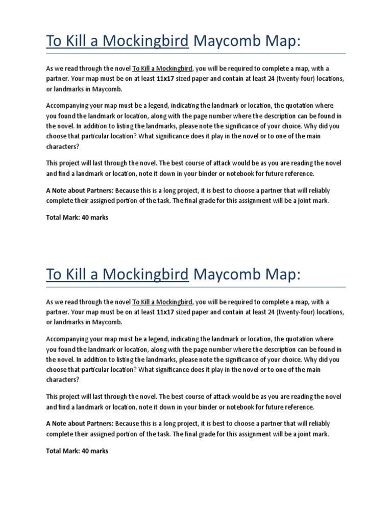 To Kill a Mockingbird Maycomb Map