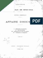 Cochinchine. Tribunaux de Binh-hoa. Justice Criminelle (1)