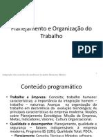 Planejamento e Organização Do Trabalho