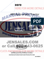 John Deere 400 Lawn Garden Tractor Service Manual