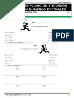 19 Multiplicación y División Con Números Decimales Quinto de Primaria