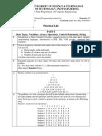 CE219.01 Practical List