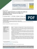 (2018) Elsevier. Validación Experimental de Un Modelo de Análisis de Elementos Finitos en Fractura de Cadera y Su Aplicabilidad Clínica