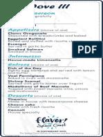The Dove III menu
