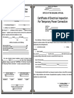 Certificate of Electrical Inspection for Temporary Power Con