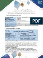 Guía de Actividades y Rúbrica de Evaluación Fase 2 – Identificar Las Variables Básicas Para La Planificación Del Proyecto.