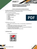 Proceso Constructivo de La Instalación de Ventanas y Puertas Metálicas